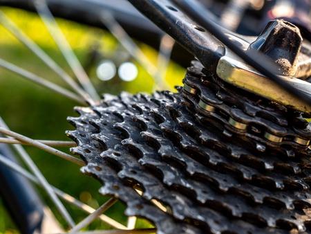 bike chaining gear shift system used mountain bike crankset Archivio Fotografico