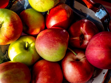 group of red fresh swiss apples in a bowl with sun shade on it Archivio Fotografico