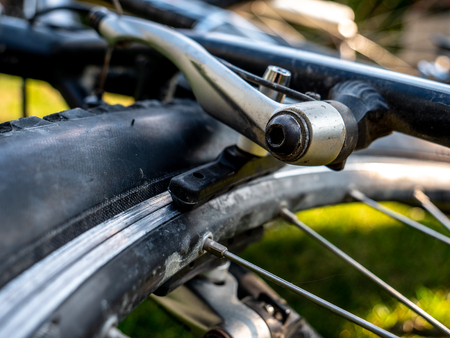 braking system at a mountain bike close up dirty bike