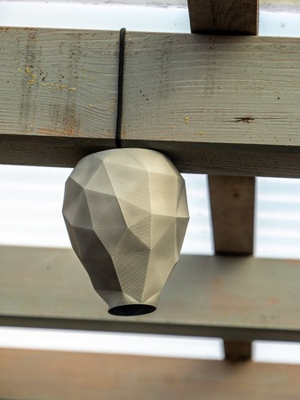 artificial wasp nest to keep them away 3d printed lookalike homemade Archivio Fotografico