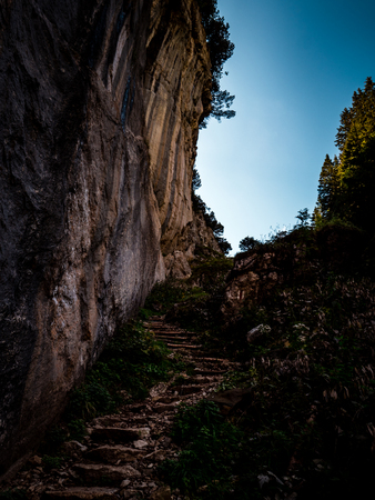 footpath with natrual steps heading up a mountain switzerland, alpstein Archivio Fotografico - 120999322