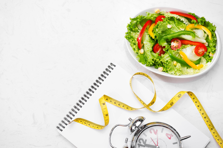 dietetics: Healthy fitness meal with fresh salad. Diet concept.