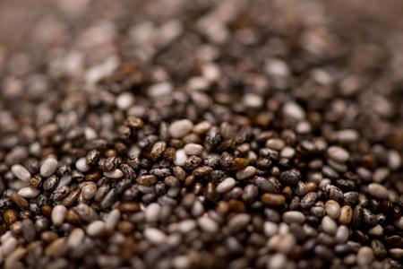 hispanica: Close-up of raw, unprocessed, dried black chia seeds