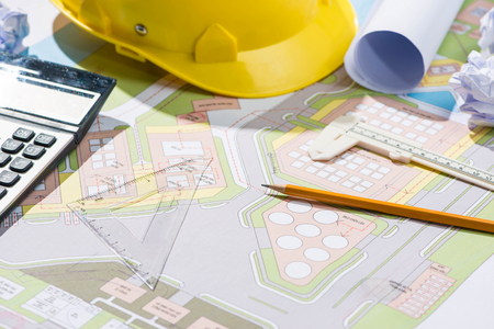 architect: Architects workplace - architectural project with blueprints. Stock Photo