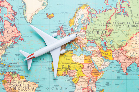 Travel. Trip. Vacation - Top view airplane with touristic map Stock Photo - 77786587
