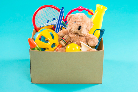Donation box with unwanted items for poor Stock Photo