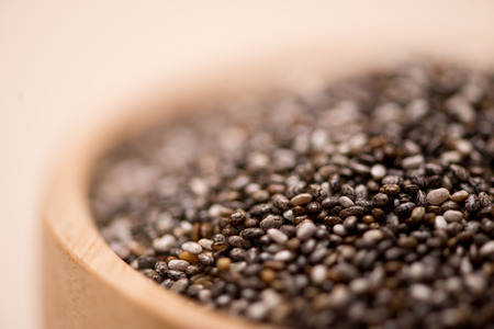 Close-up of raw, unprocessed, dried black chia seeds
