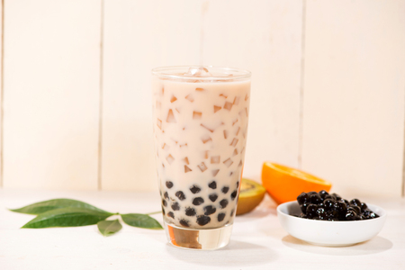 Boba  Bubble tea. Homemade Milk Tea with Pearls on wooden table. Stok Fotoğraf