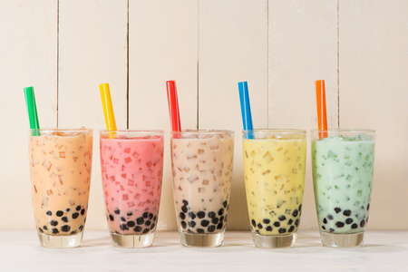 Boba / Bubble tea. Homemade Various Milk Tea with Pearls on wooden table. Stockfoto