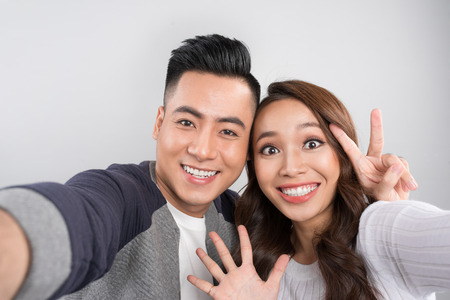 Asian young couple selfie Stok Fotoğraf