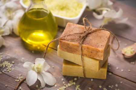 Handmade Soap and Aroma Oil with White orchid. Spa products. Фото со стока - 81072530