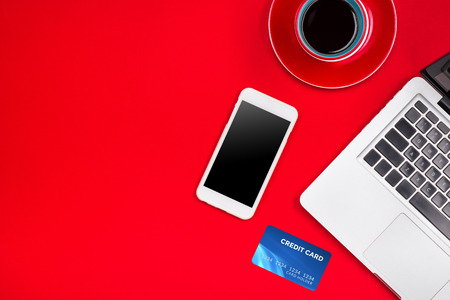 Holiday online shopping concept. View from above with copy space Stockfoto
