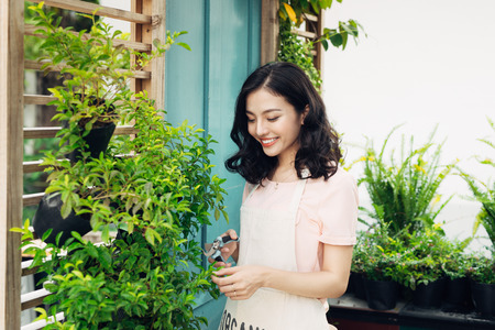 Cute asian woman gardener cutting plants with garden scissors in greenhouse Stock fotó - 82344808