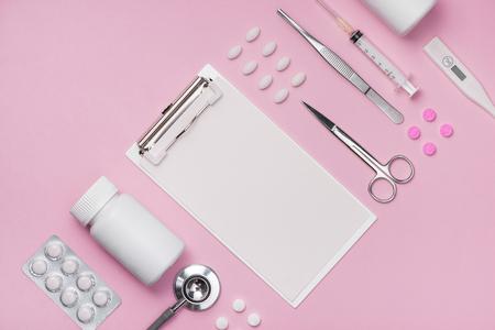 Medical equipment.  Medical concept on pink rose background