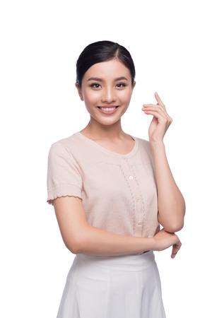 Pretty young Vietnamese girl standing. Naturally beautiful woman.