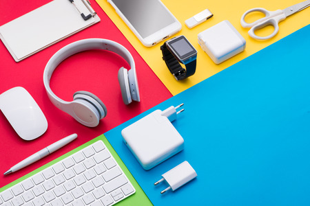 Well organised white office objects on colorful background Stock Photo