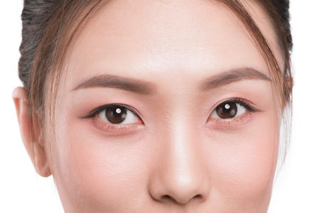 Close-up image of asian eyes. Stock Photo