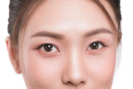 Close-upbeeld van Aziatische ogen.
