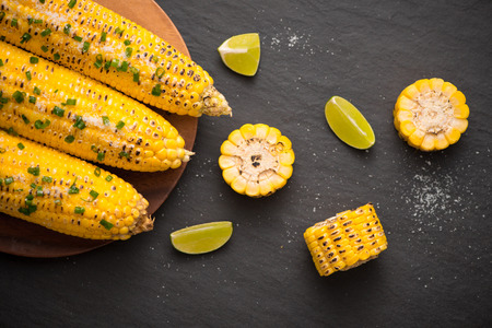 Tasty sweet grilled corn with salt and lime. Stock fotó