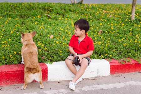 Kind omhelst liefdevol zijn huisdierhond, een pembroke corgi