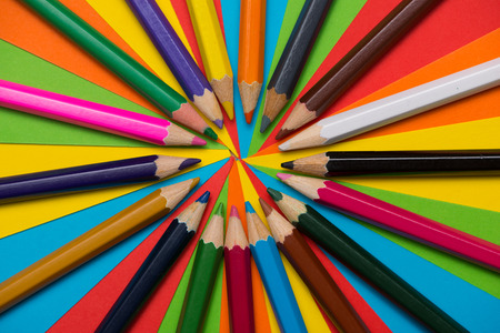 Colorful crayons. Many different colored pencils.