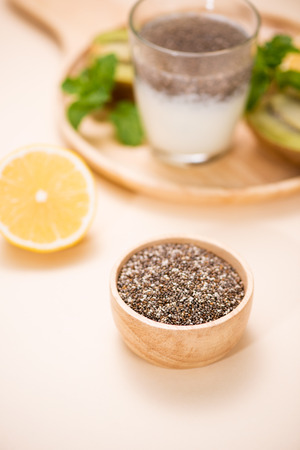 Healthy breakfast with chia pudding in glass