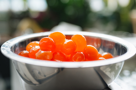 Close up of chinese golden salted egg yolk Stock Photo