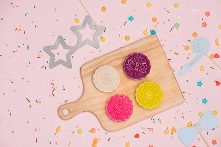 pastel soft moon cake on white plate Stock Photo - 85933392