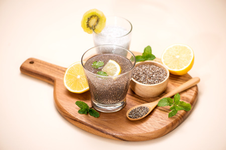 Healthy breakfast with chia pudding in glass Stock Photo - 85933435