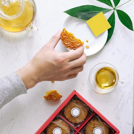 Mid-autumn festival mooncake minimalist style tea party table. Flat lay. Stock fotó