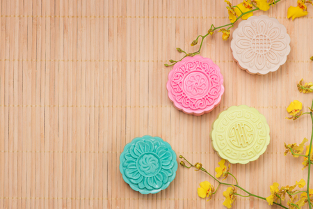 Delicious Chinese Traditional Snack Mooncake on the Table. Stock Photo