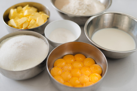 Bakery chef. Ingredients for baking cake