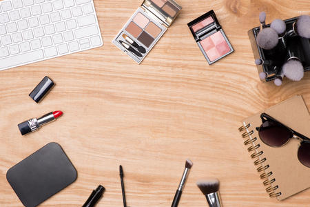 Top view of cosmetics and female accessories. Stok Fotoğraf
