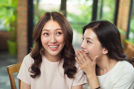 Jonge Aziatische vrouw die geheimzinnigheidsnieuws vertellen aan haar verrast meisje Stockfoto - 88488232
