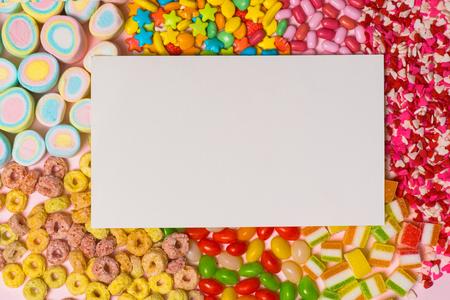 様々 な甘いお菓子の平面図です。 写真素材