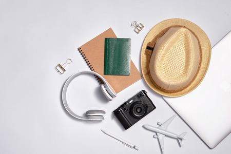 Different objects for traveling on white background. Top view. Stok Fotoğraf
