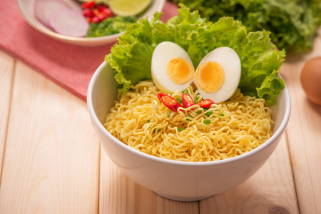 Asian noodles with vegetables and boiled egg