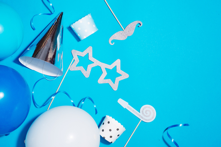 Birthday party background. Celebration concept. Flat lay.