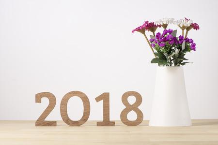 새해 복 많이 받으세요. 번호 2018의 한숨 기호 스톡 콘텐츠