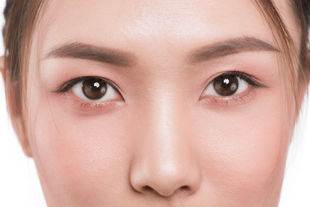Close up of asian eye woman eyebrow eyes lashes