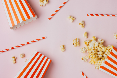 Popcorn in red and white cardboard. Top view Stock Photo