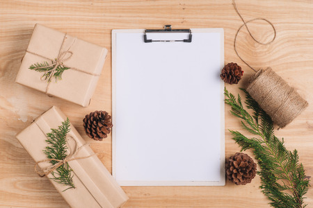 Christmas letter and wrapping christmas gifts. Top view with copy space Stock Photo