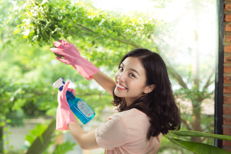 Smiling young asian woman housewife washes a window