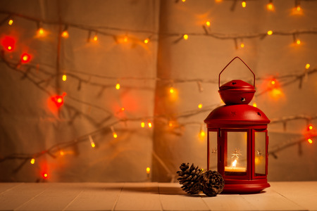 christmas tree light on wooden table. Stock Photo