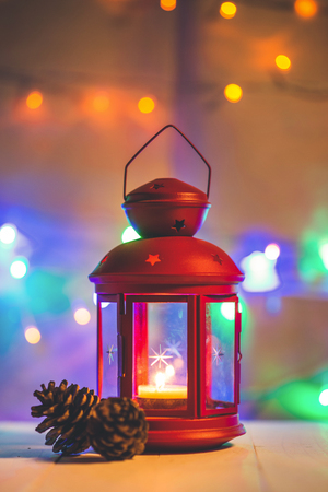 christmas tree light on wooden table. Stock Photo
