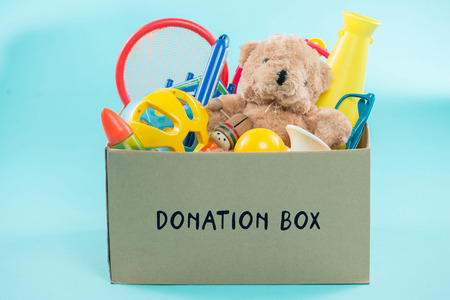 Toy. Donation box with  unwanted items for poor Stok Fotoğraf