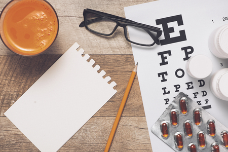 Caring for eye sight by healthy eating. Concept. View from above