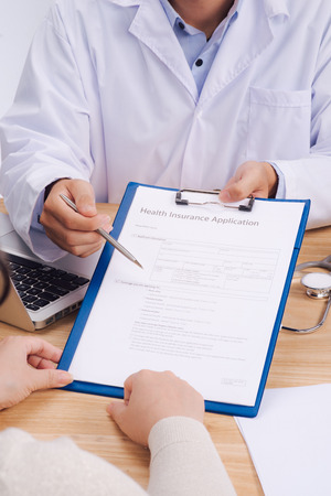 Healthy insurance Application. Medicine and health care concept Stock Photo