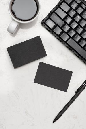Bedrijfsmatige boodschappenmerk branding mock-up met visitekaartje leeg Stockfoto