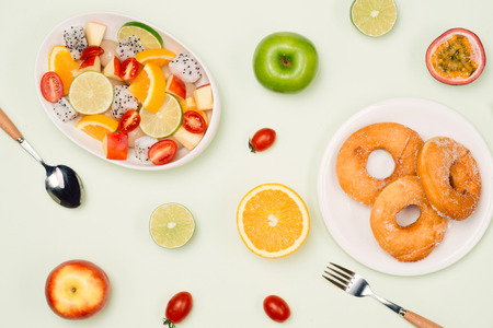 Eating delicious summer tropical fruits and breakfast.